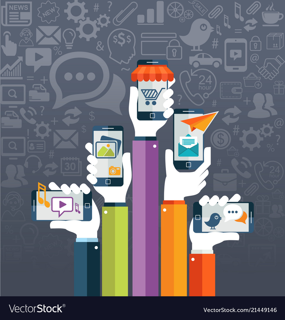 Flat design mobile apps concept