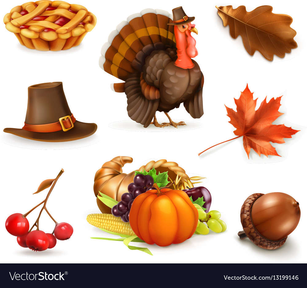 Happy Thanksgiving cartoon character and objects vector image