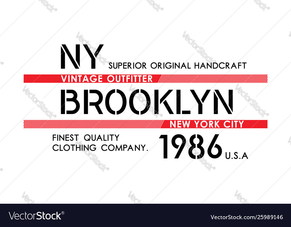 Ny brooklyn typography design varsity