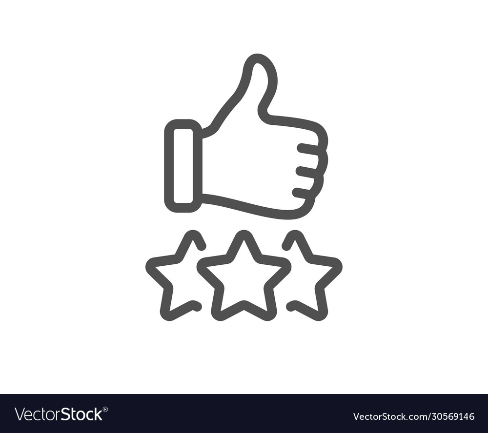 Rating stars line icon thumb up hand sign