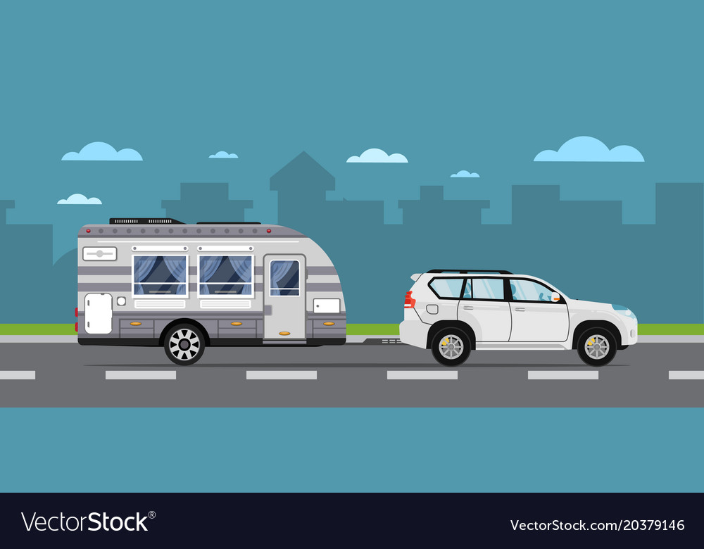 Road travel poster with suv car and trailer