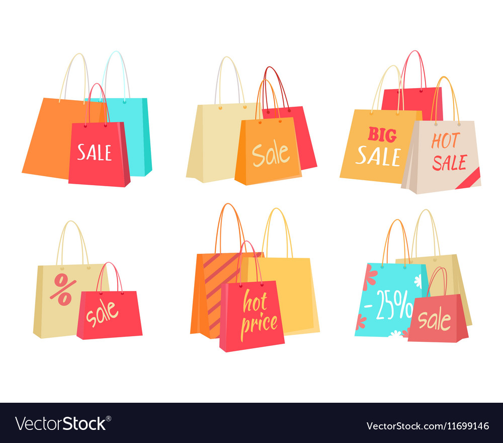 Sale Concepts with Paper Bags Set