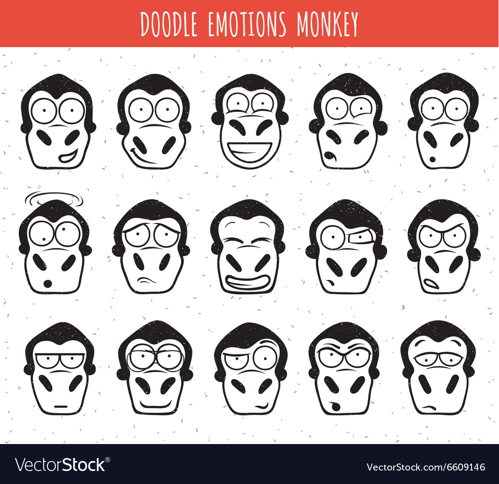 Set 15 doodle heads of monkeys with different