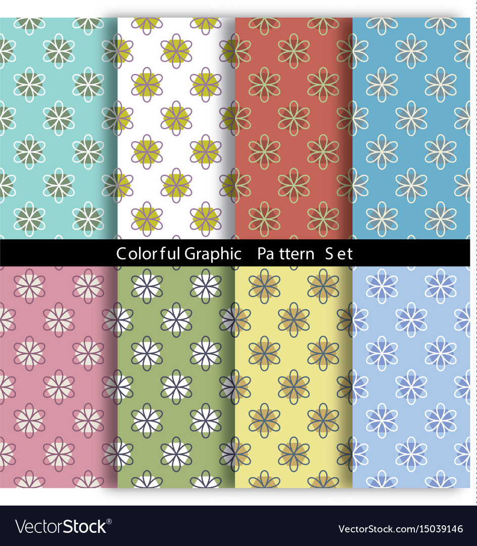 Set of 8 vintage flowers graphic pattern