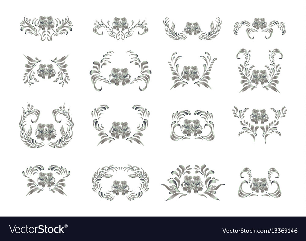 Silver ornament on white background