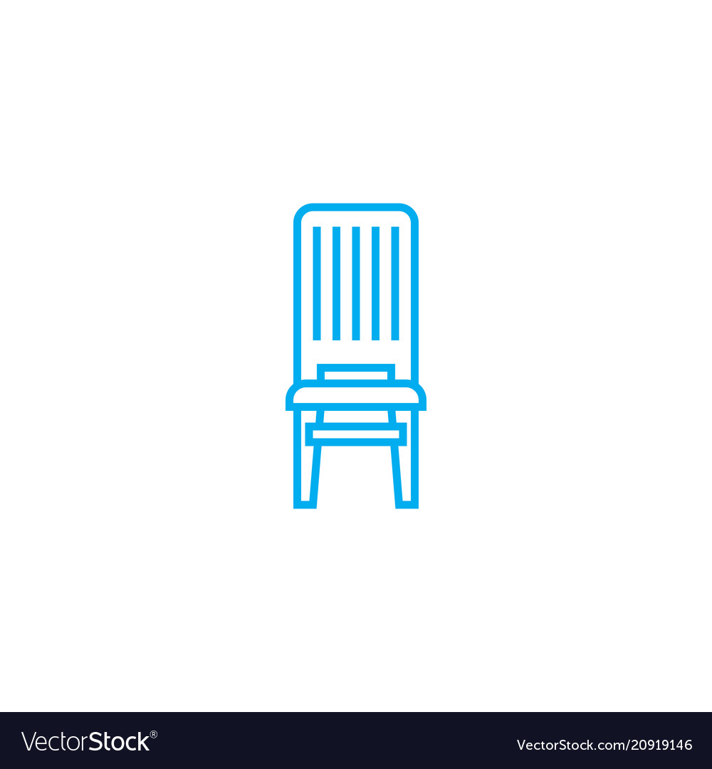 Wooden chair linear icon concept wooden chair