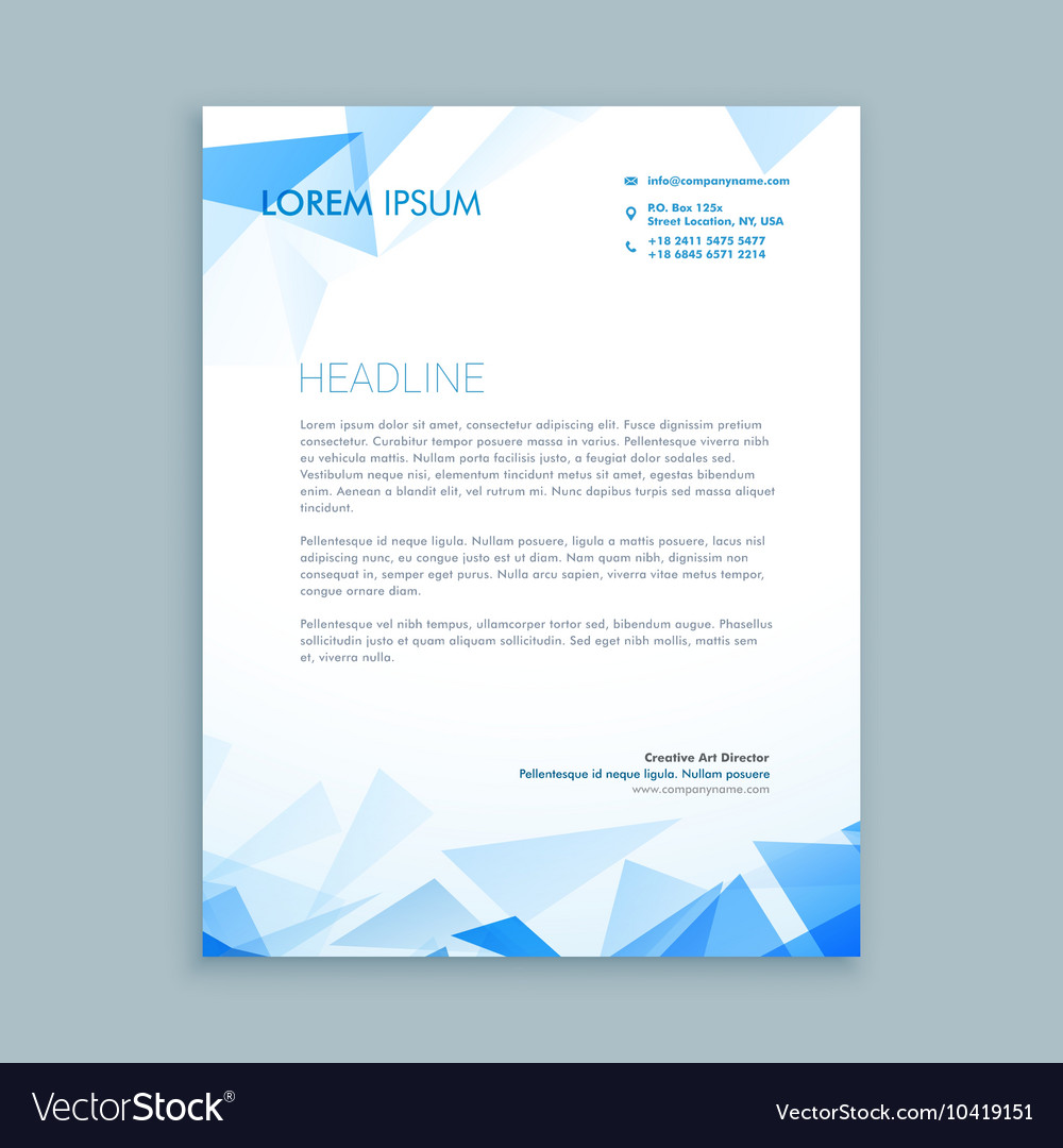 Abstract Triangle Letterhead Design Royalty Free Vector