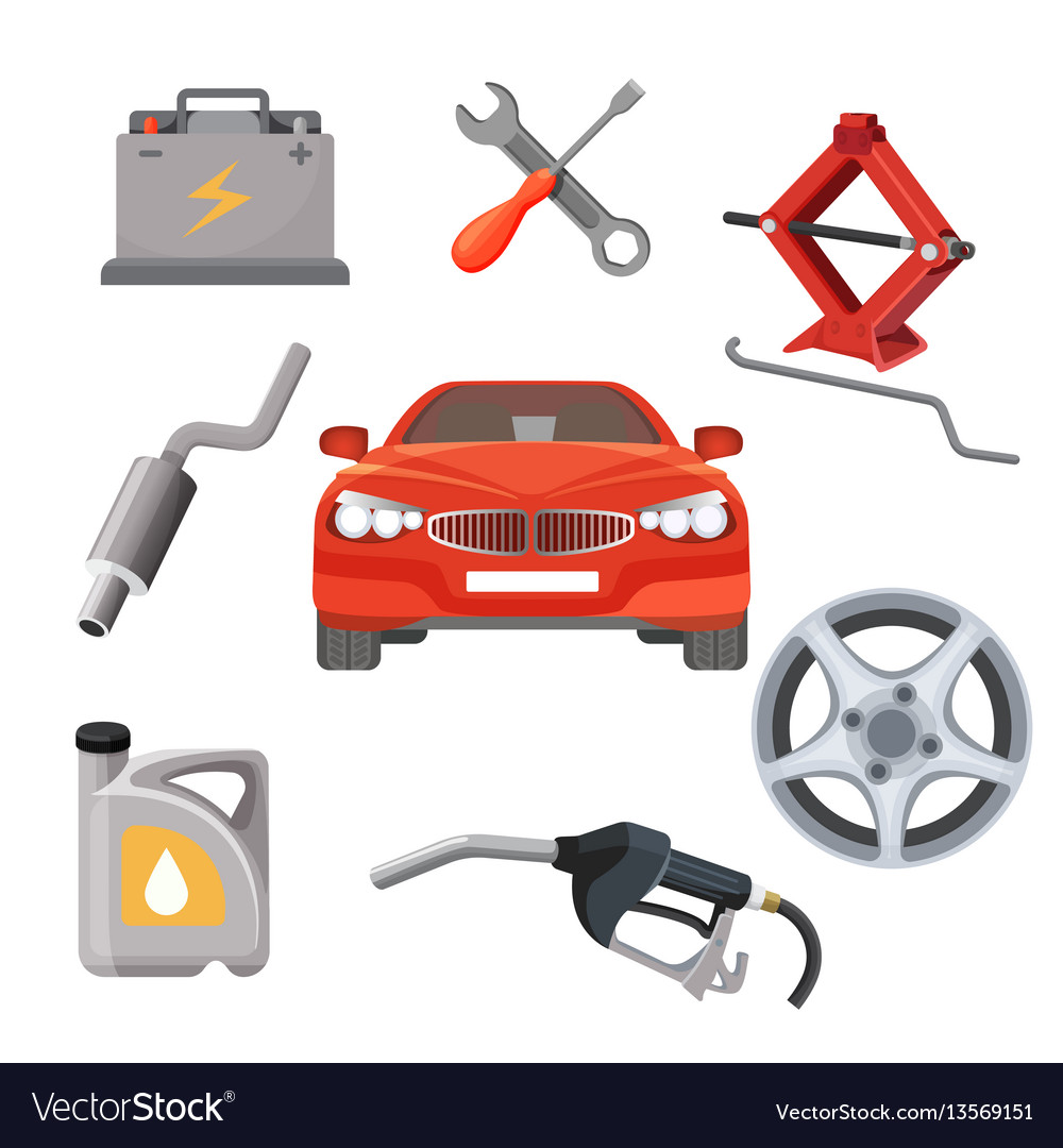Car service set red automobile and working