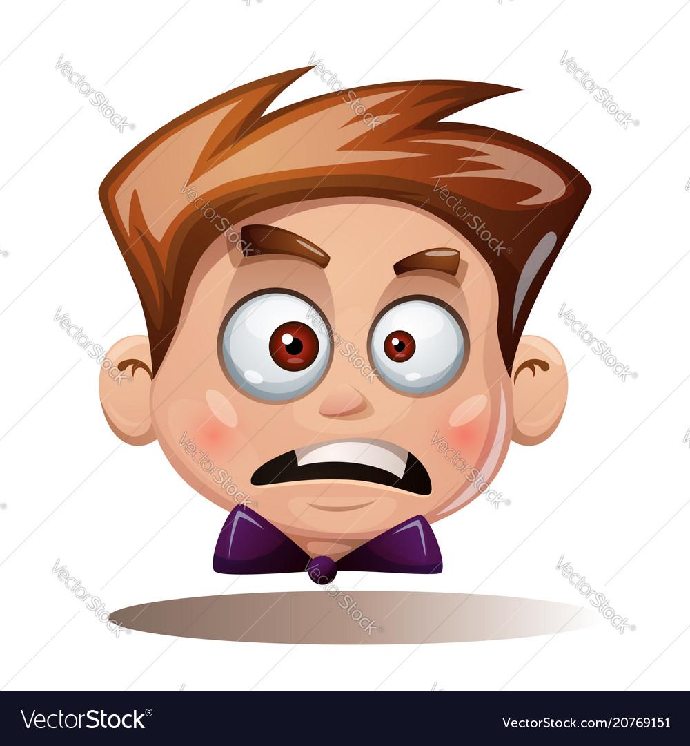 Cartoon head boy funny smiley vector image