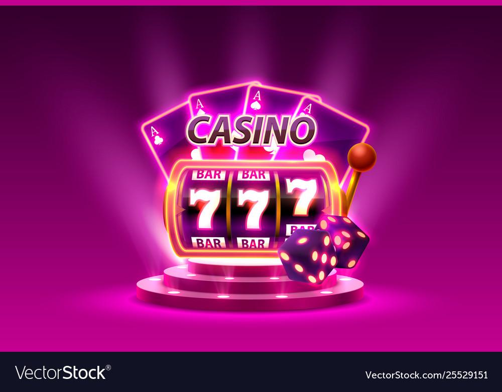 Casino slots 777 banner winner scene podium