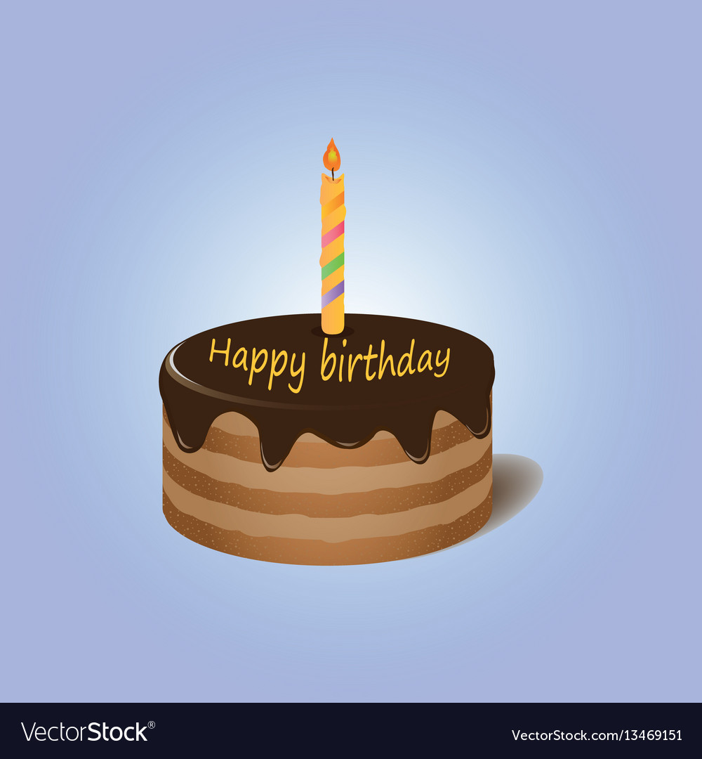 Awe Inspiring Chocolate Cake With Candle Happy Birthday Vector Image Personalised Birthday Cards Veneteletsinfo