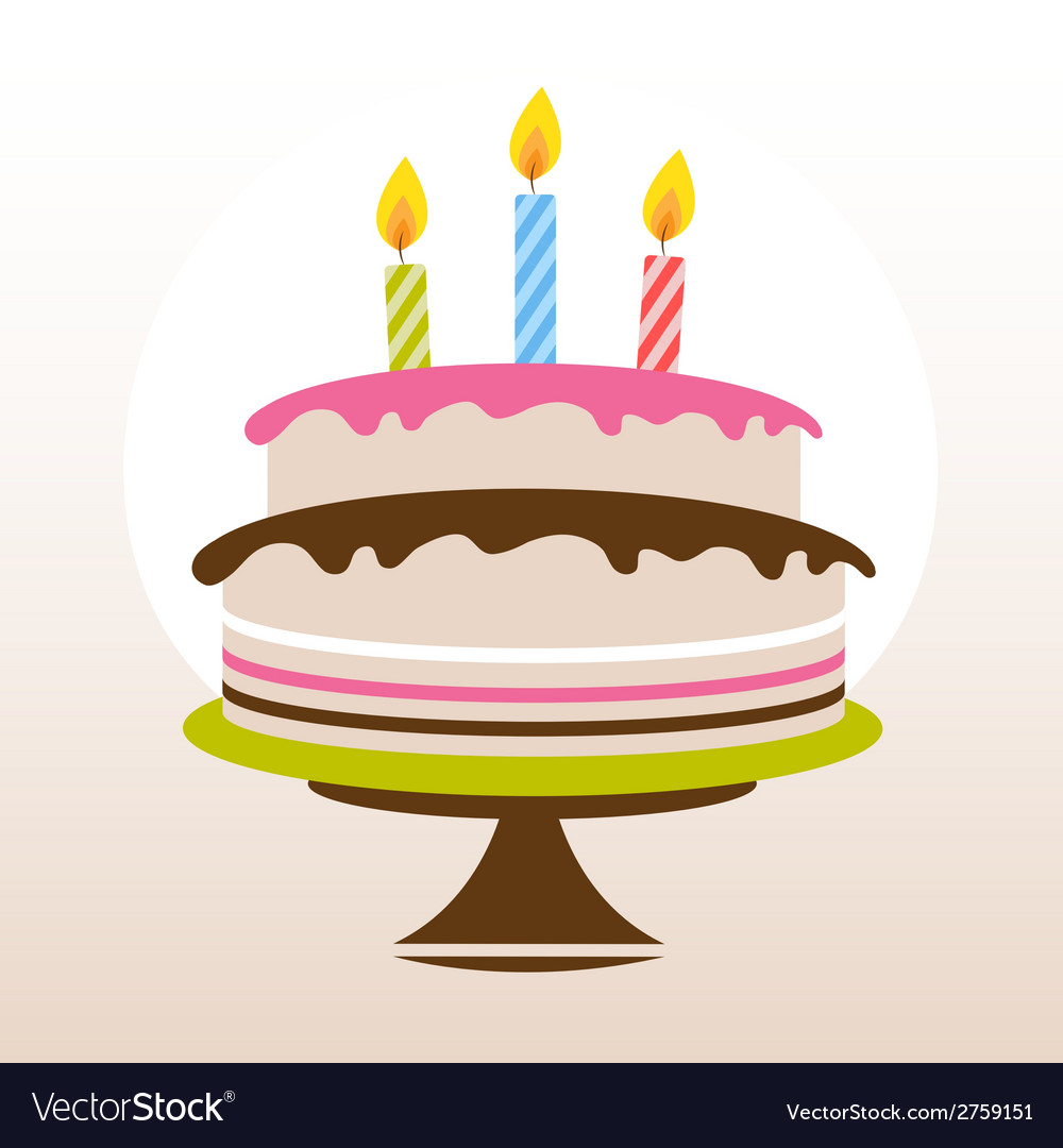 Color birthday cake vector image
