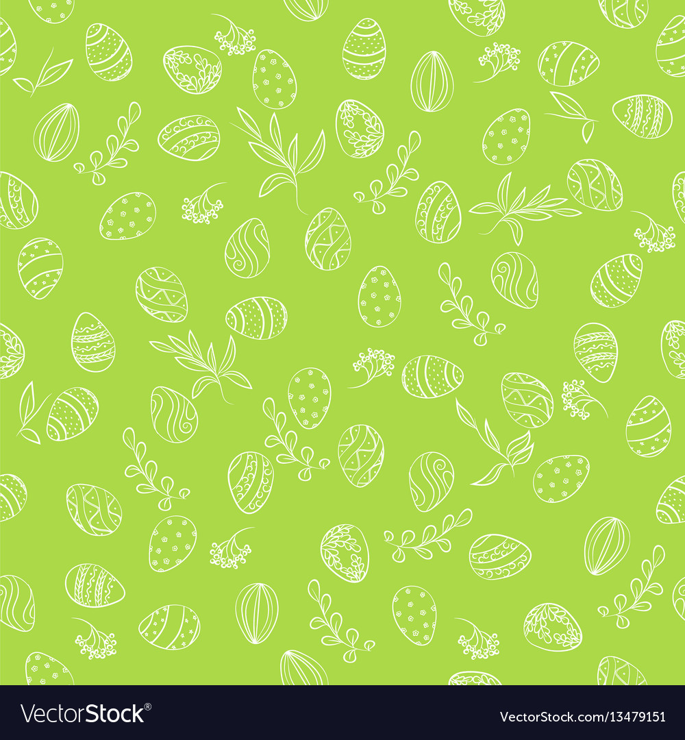 Easter eggs floral pattern vector image
