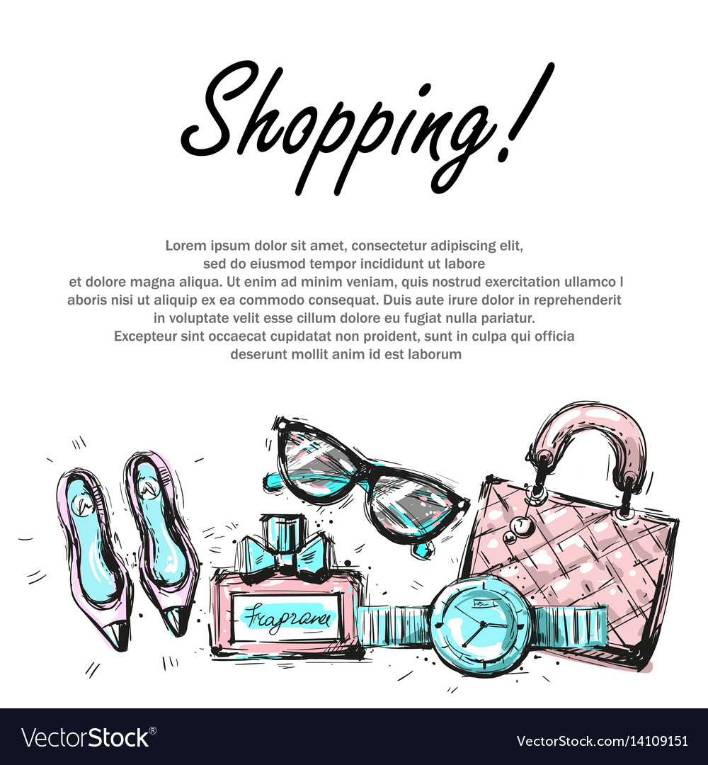 Fashion shopping design template with fashion vector image