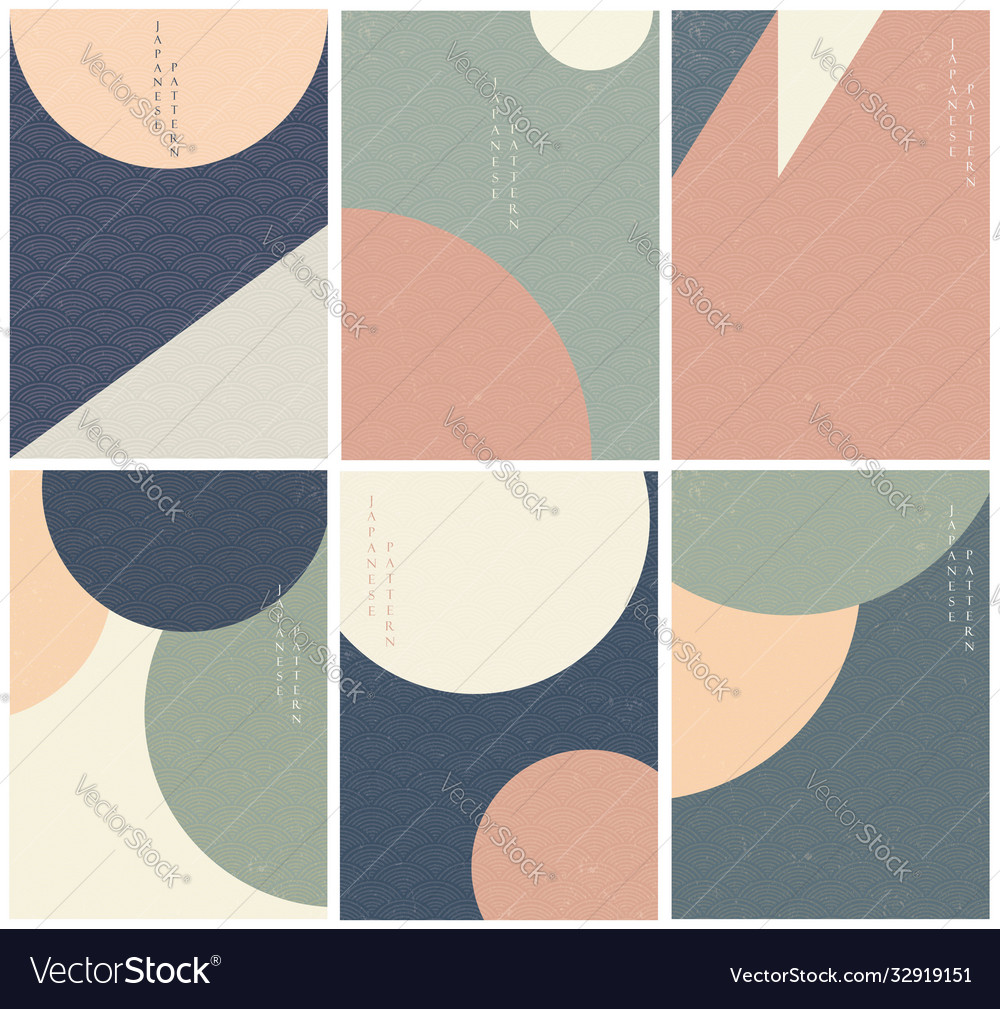 Geometric background with japanese wave pattern