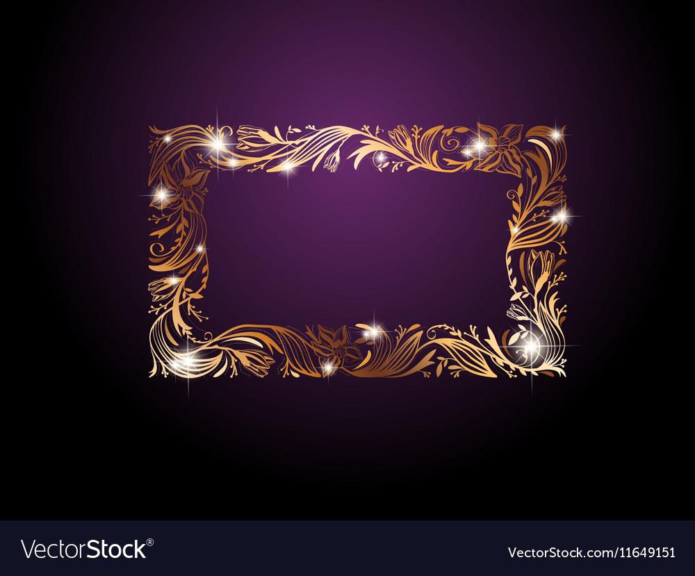Golden Floral Decorative Frame vector image