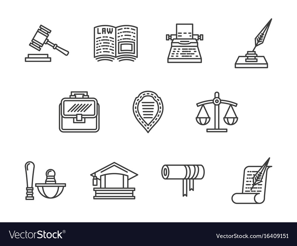 Justice and law black line icons set