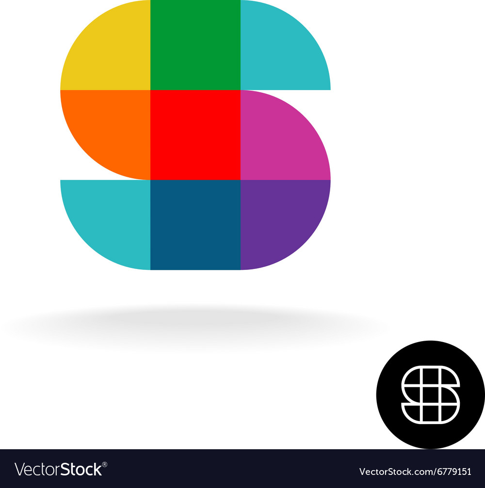 Letter S colorful rainbow square and sector