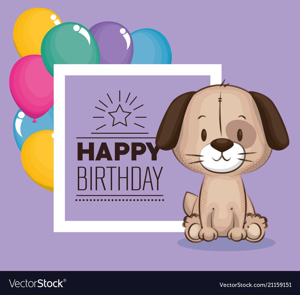 Little Cute Dog Birthday Card Vector Image