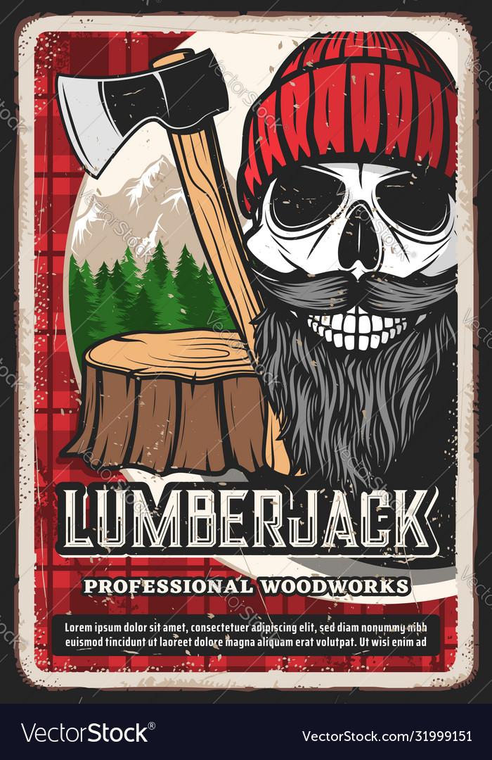 Lumber jack retro poster lumberjack logger skull