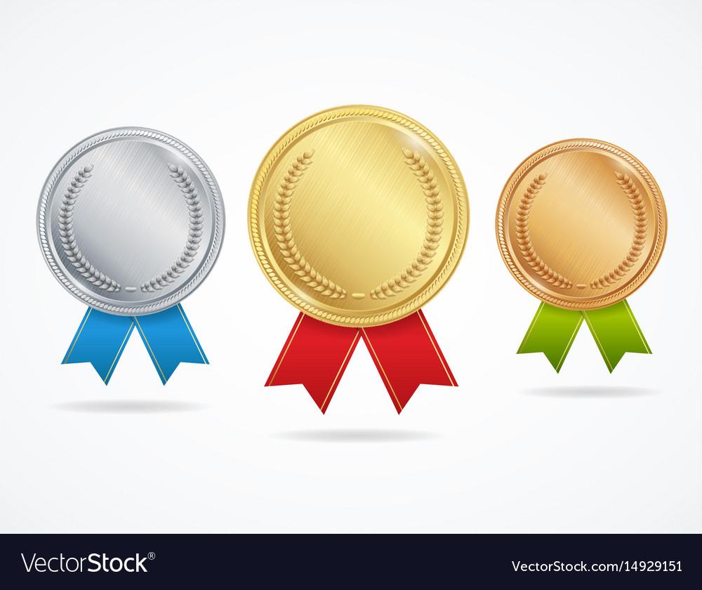 Realistic metal award medals set vector image