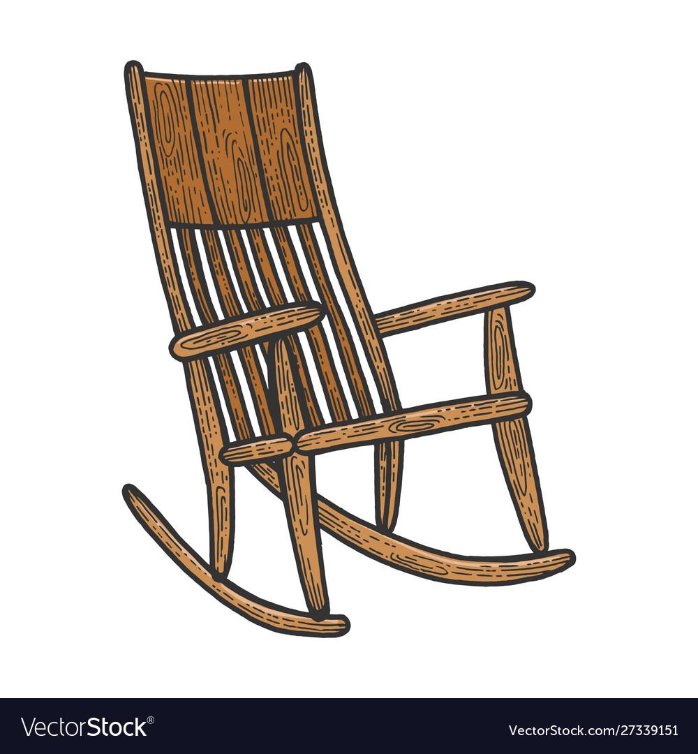 Rocking chair sketch engraving