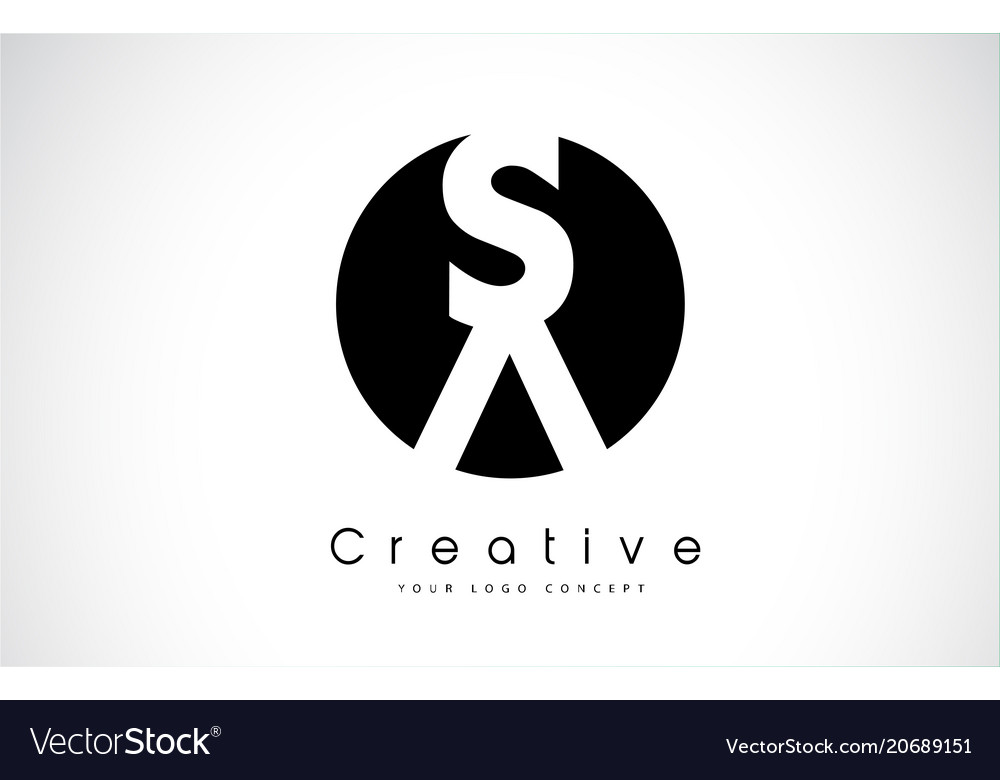 Sa letter logo design inside a black circle