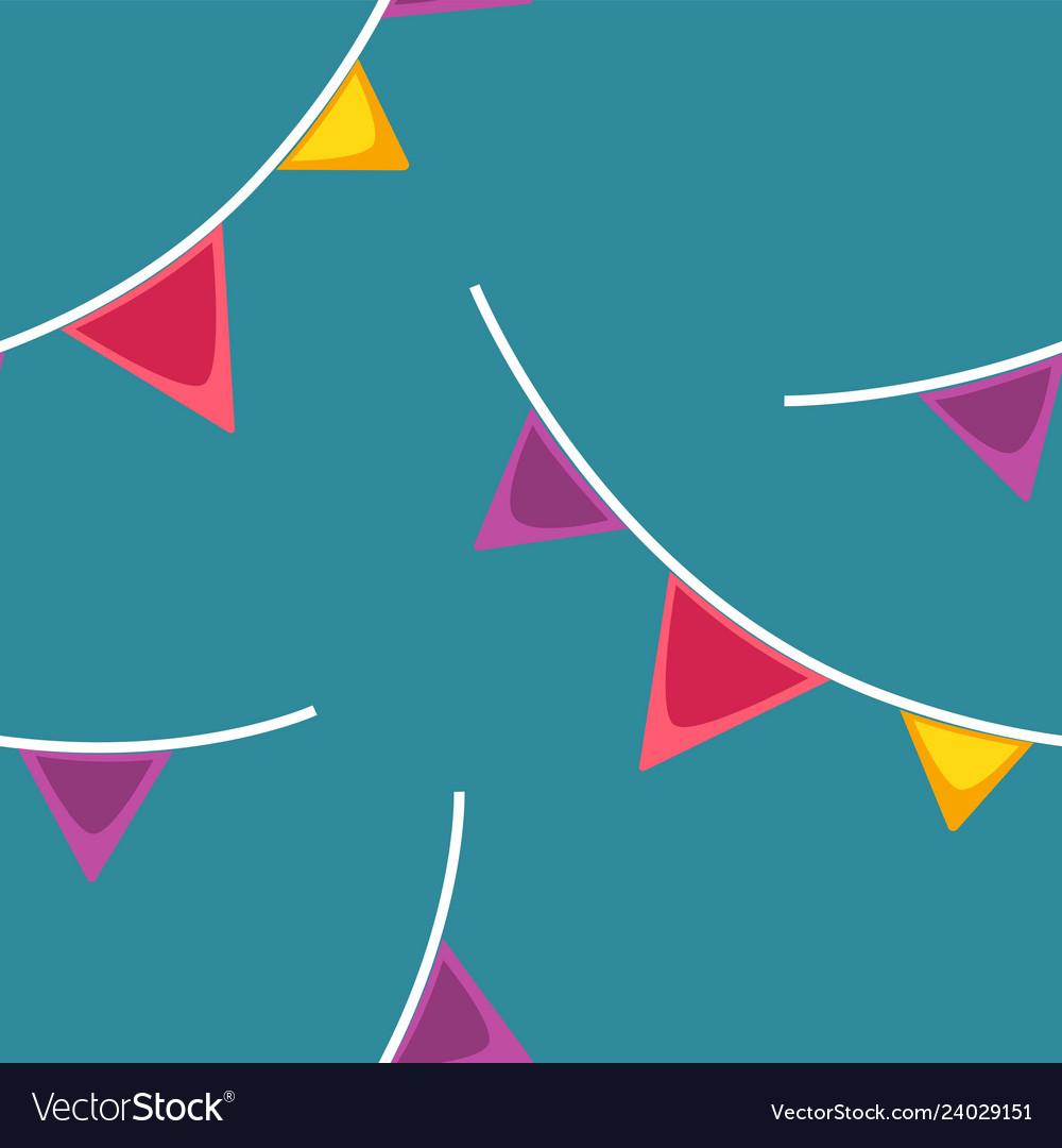 Seamless pattern with cartoon festive flag