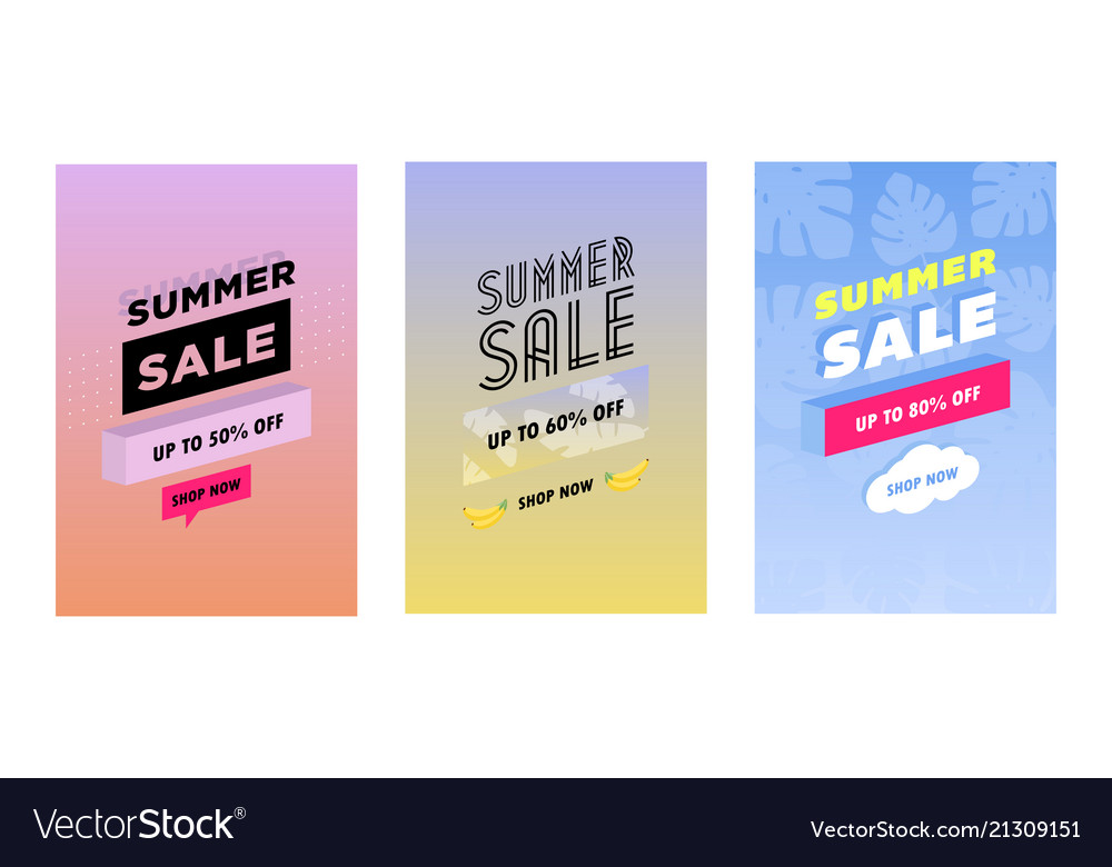 Summer set of sale and gift tags labels with fun