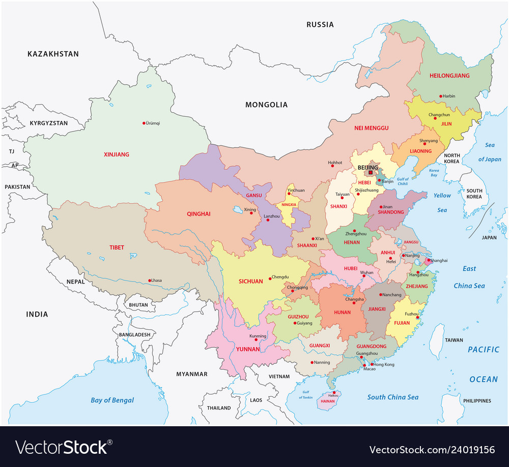 Administrative Divisions Of China Map Royalty Free Vector