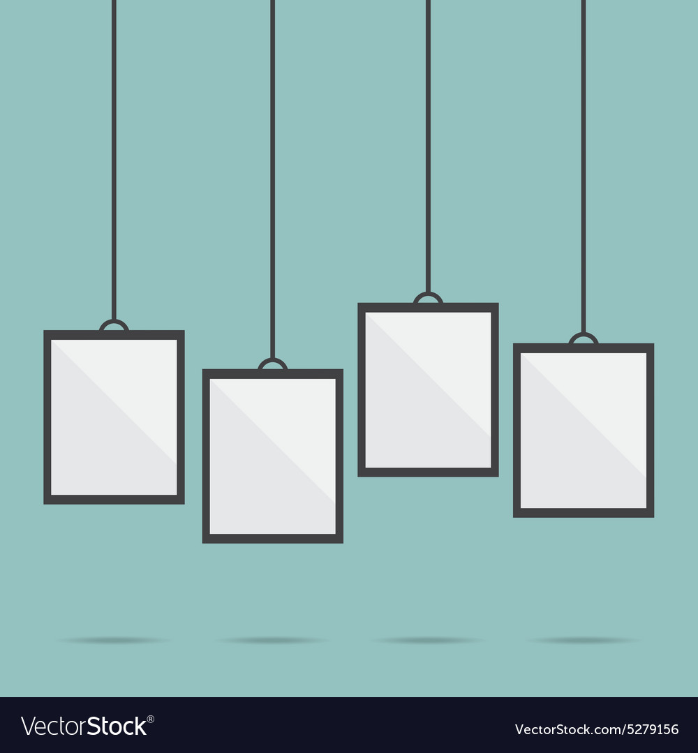 blank picture frame template hanging royalty free vector