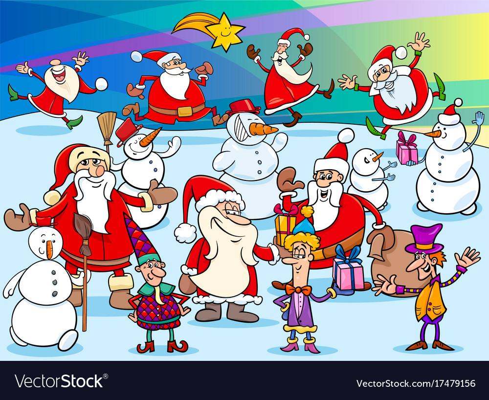Christmas cartoon characters group vector image
