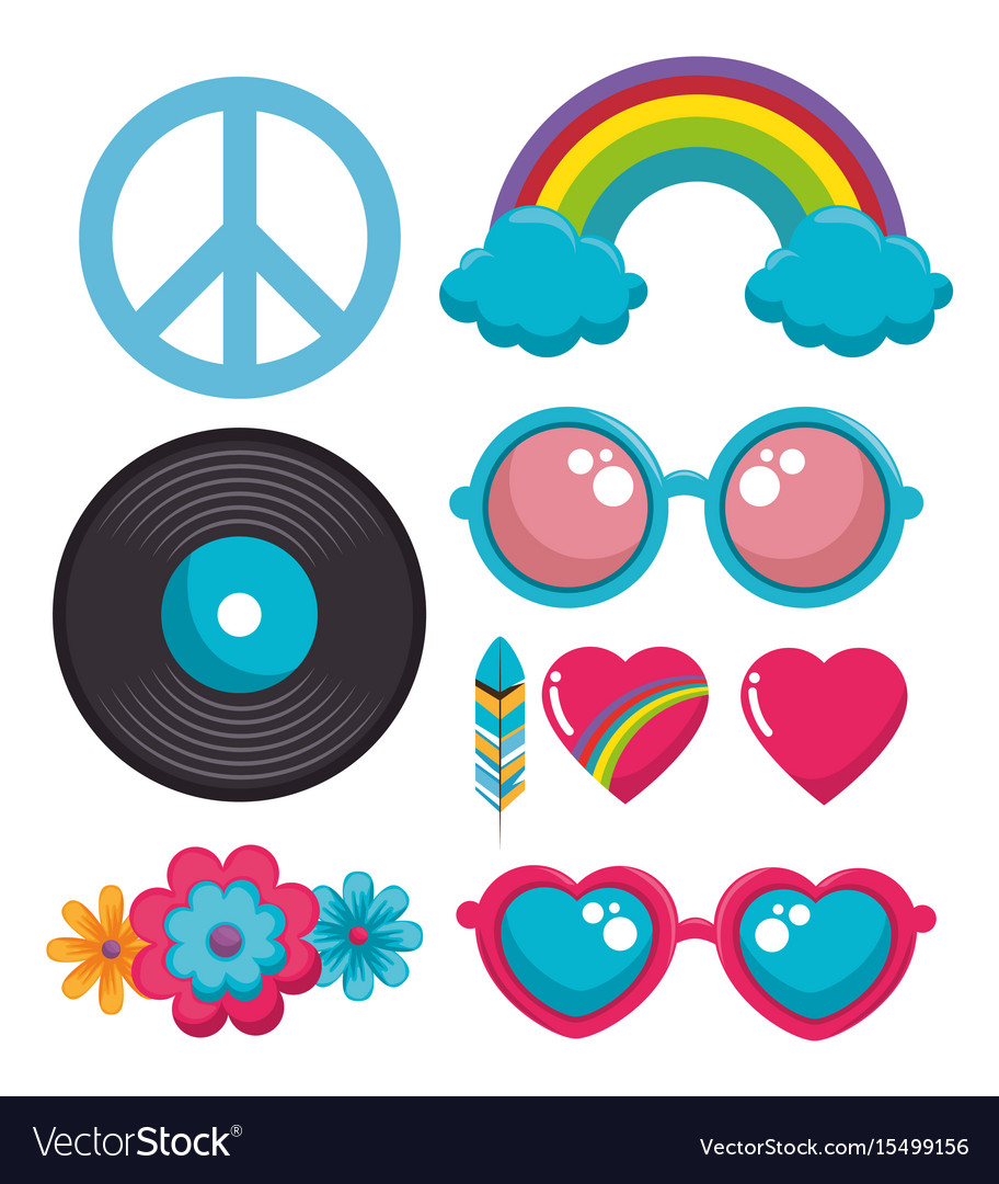 Colorful hippie icons vector image