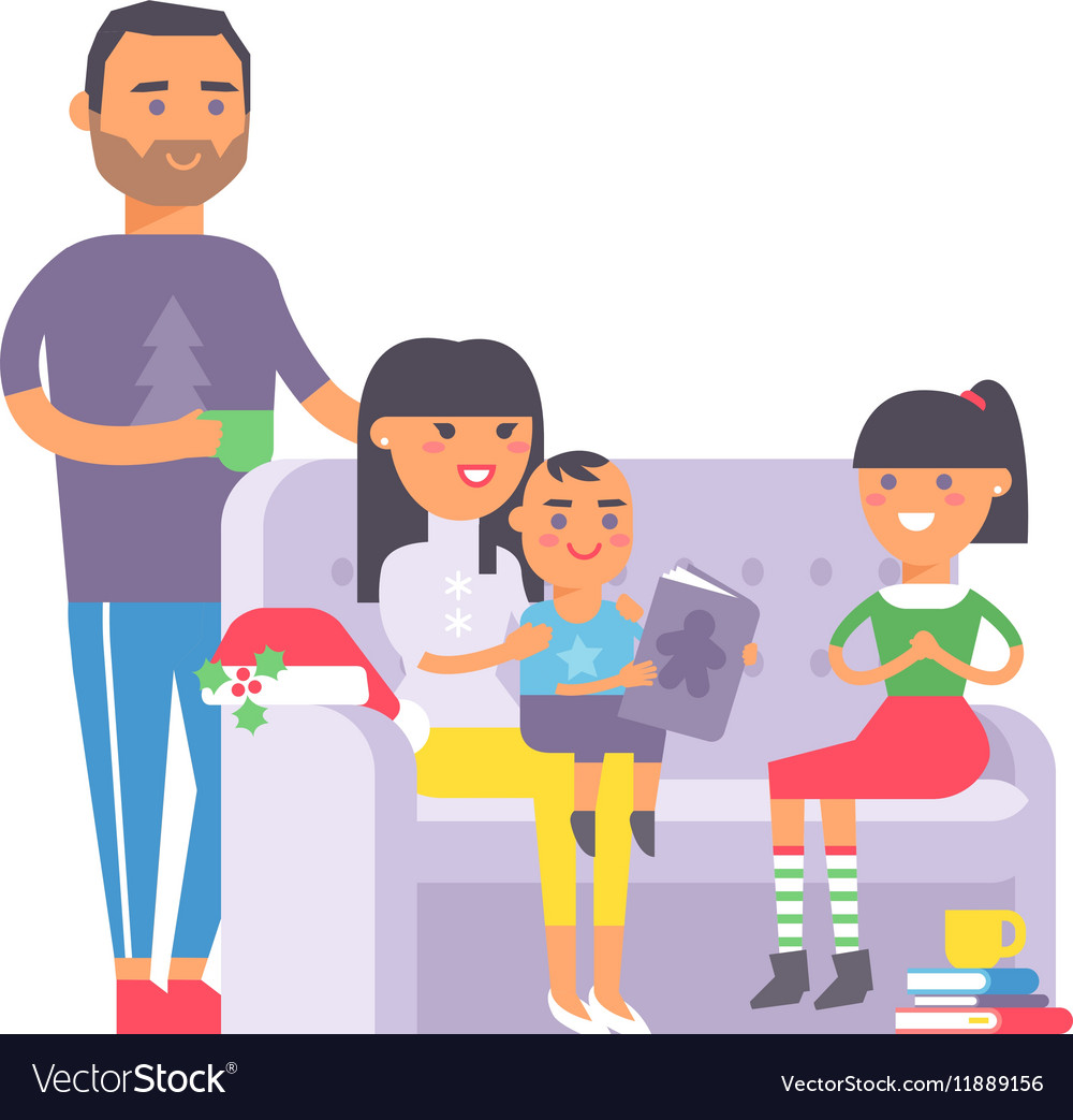 Family on couch vector image