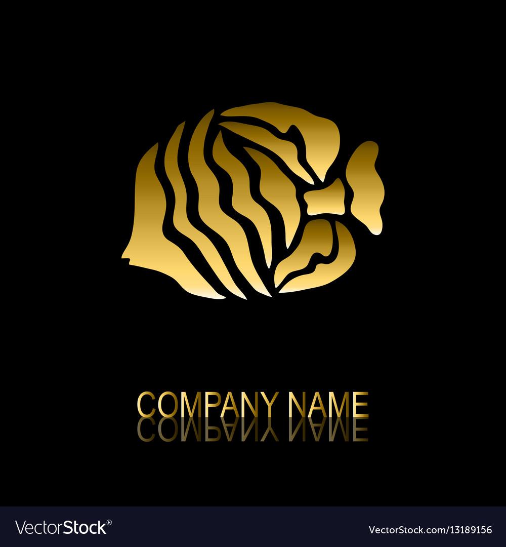 Golden fish symbol vector image