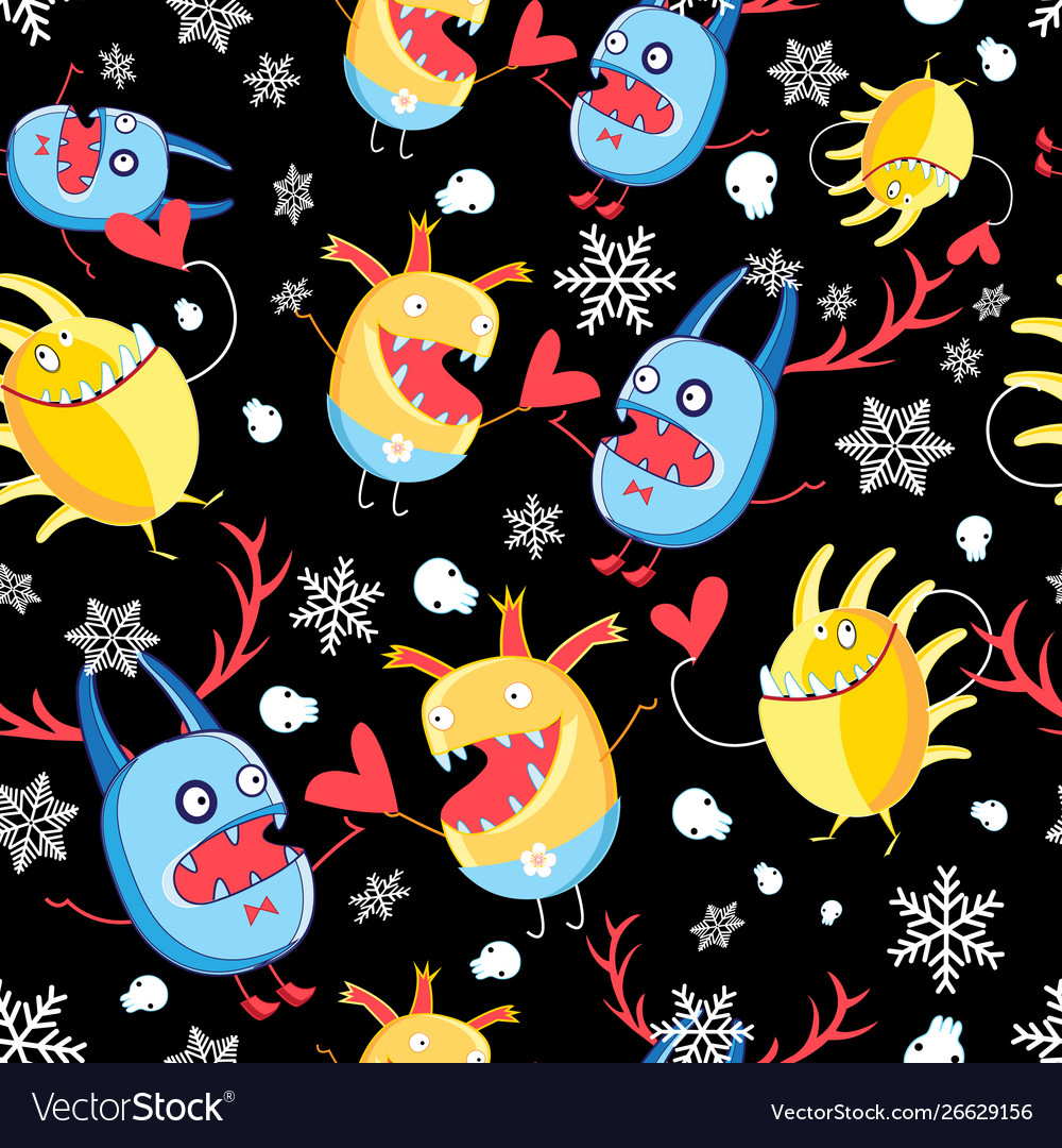 Graphic pattern with monsters in love