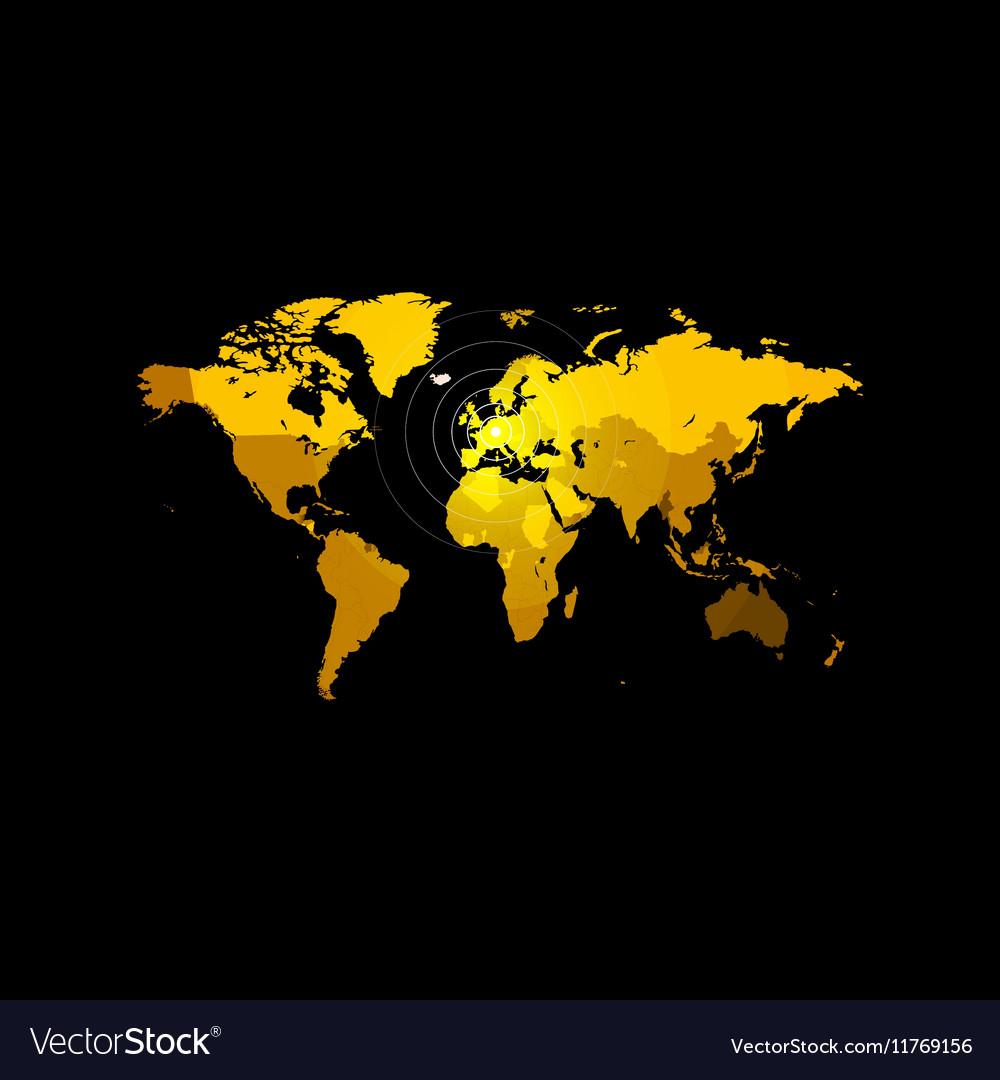 Orange color world map on black background Globe