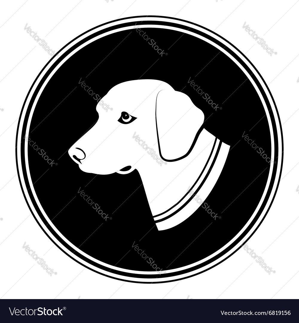 Sign of white dogs head in black round Silhouette