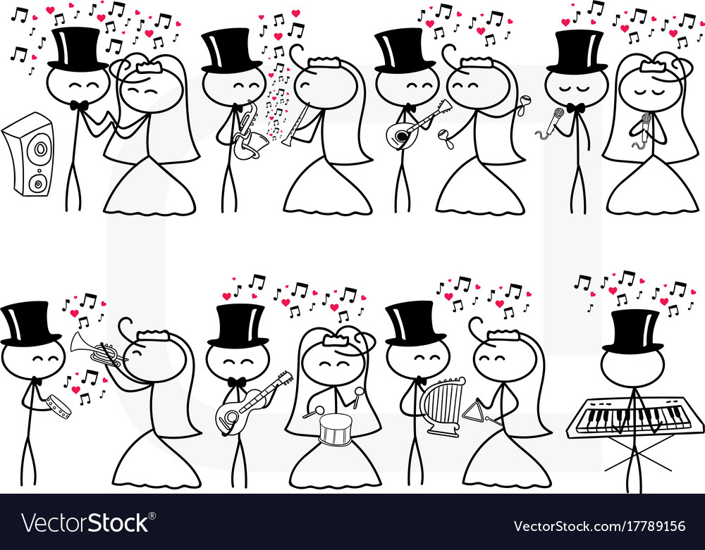stick figure people love wedding instrument music vector image