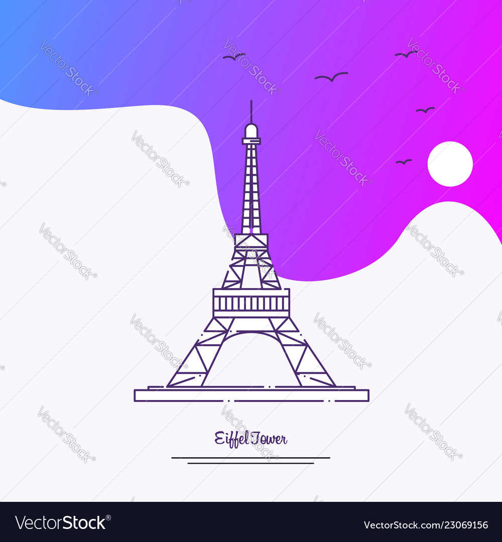 travel eiffel tower poster template purple vector image