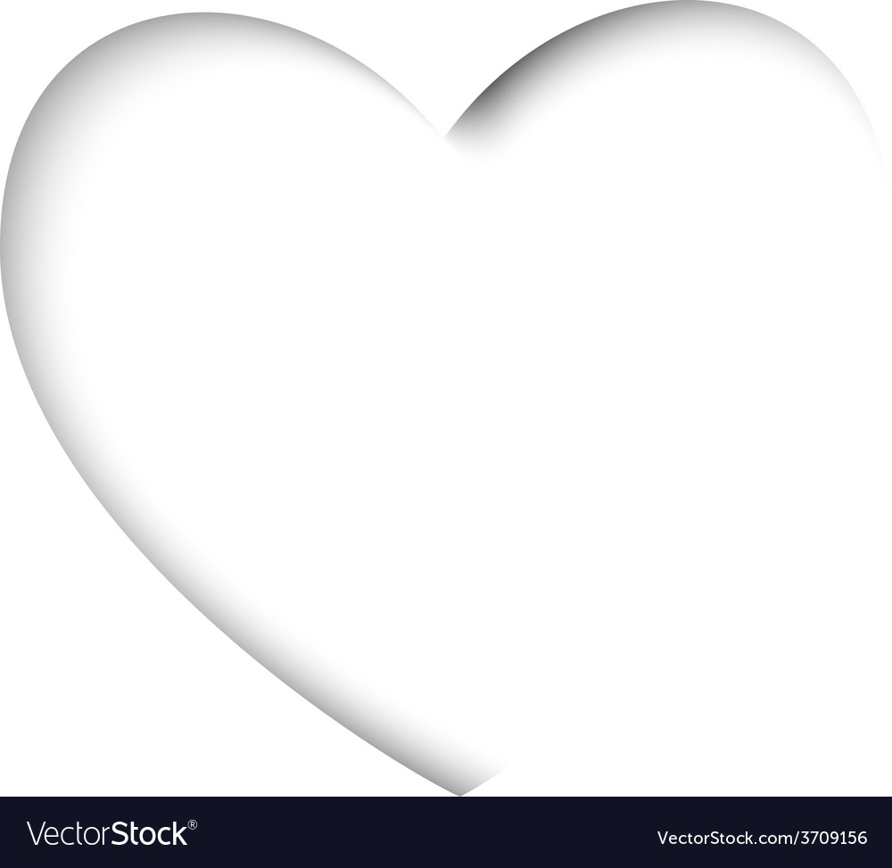 Valentines card with cut out heart on a white