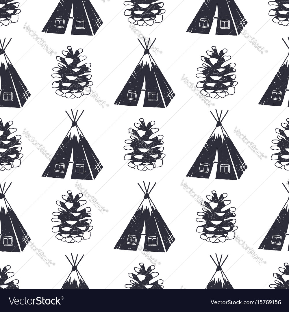 Vintage hand drawn camping and forest pattern