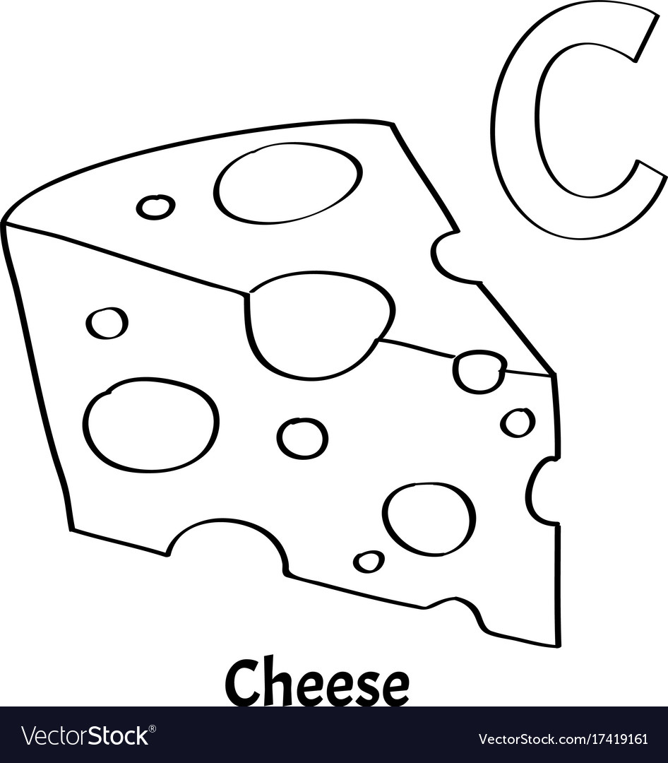 Alphabet letter c coloring page cheese Royalty Free Vector