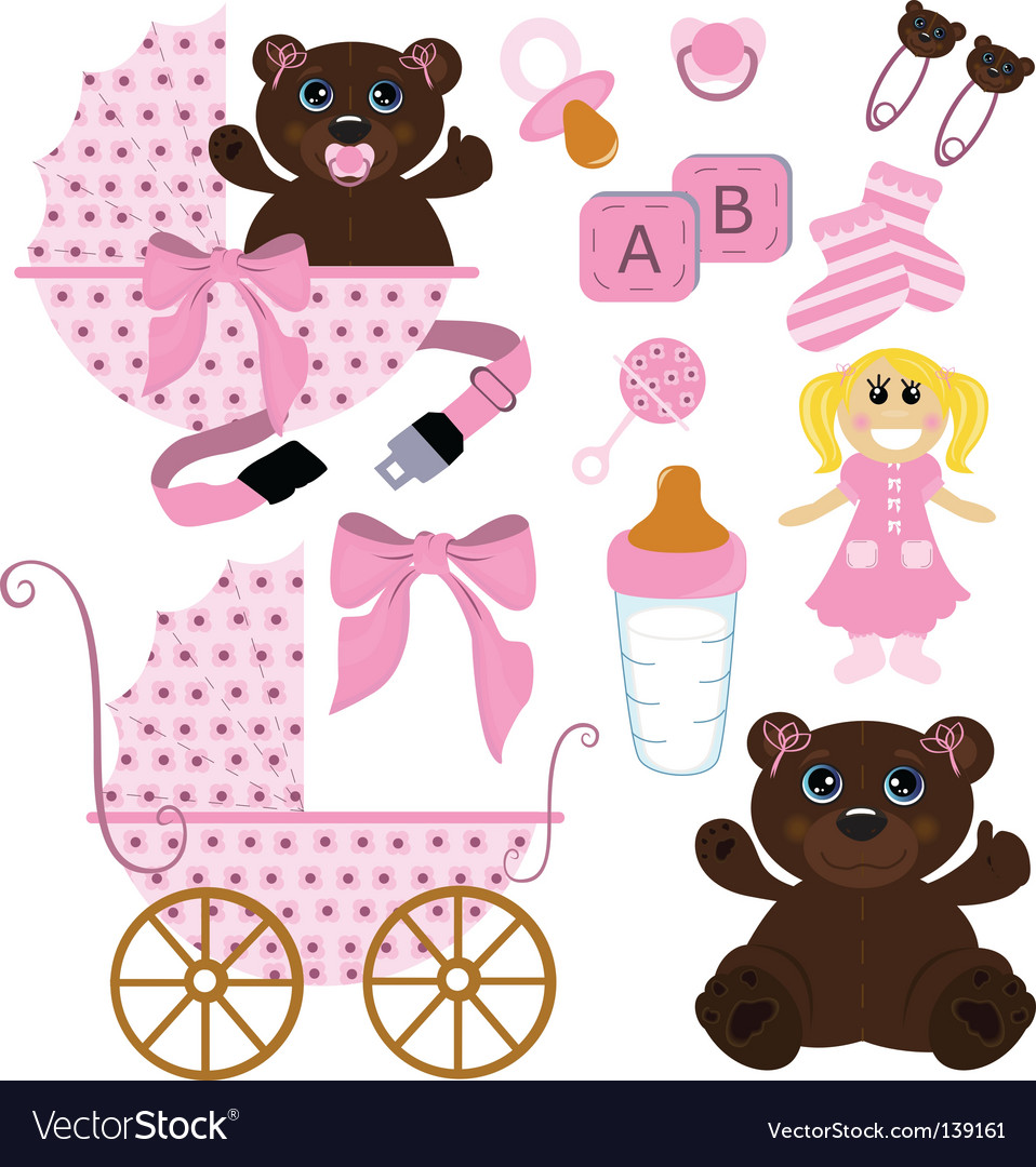 Baby girl stuff vector image
