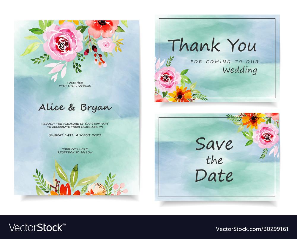 Colorful greeting wedding invitation card set