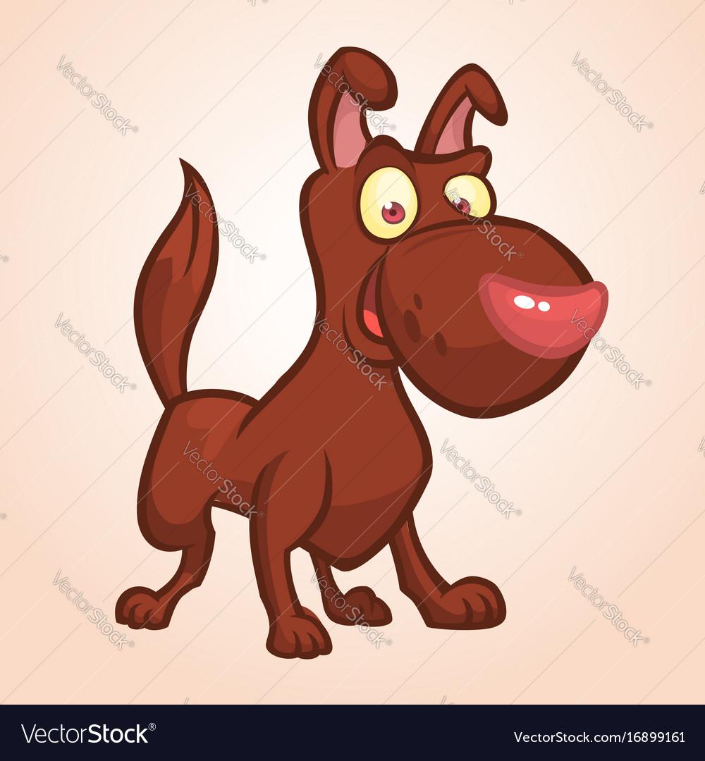 Cute happy brown dog cartoon vector image