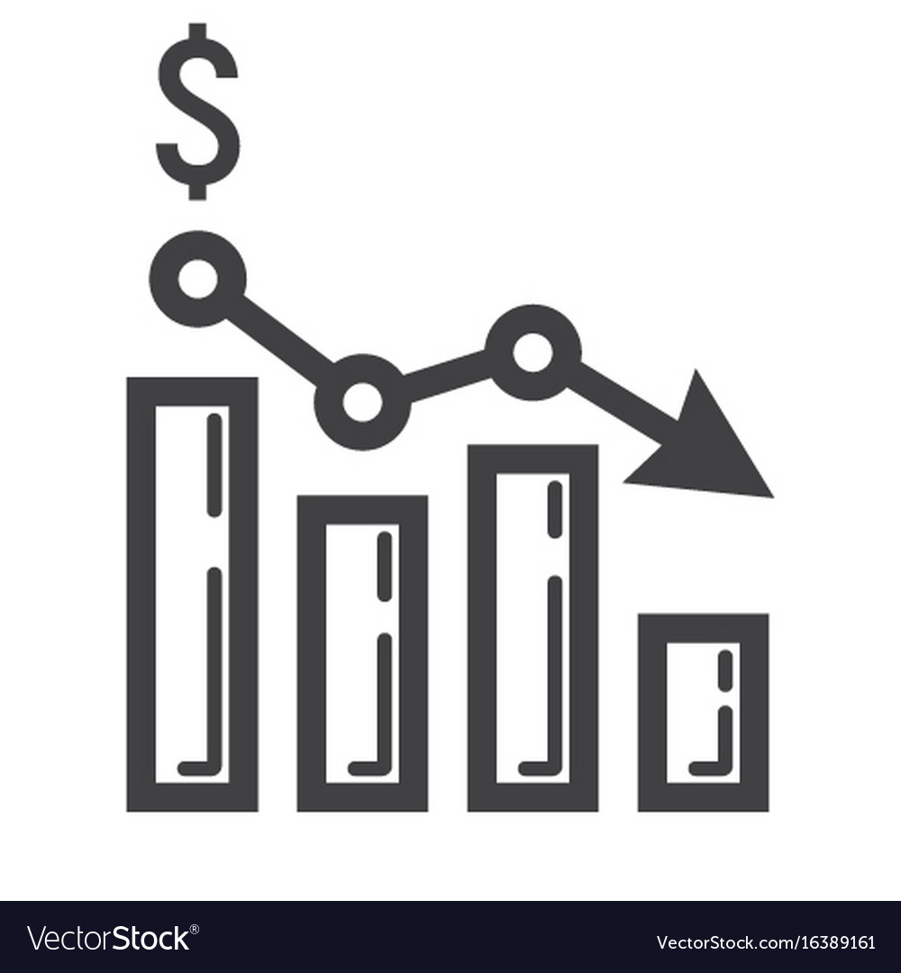 Declining graph line icon business and finance
