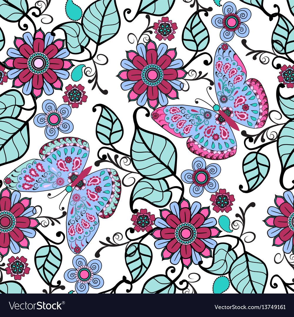 Decorative pattern with floral ornament and