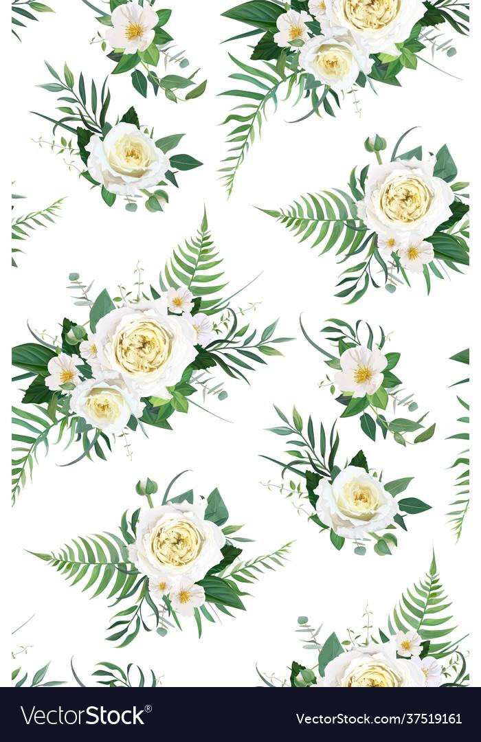 Elegant watercolor rose floral seamless pattern