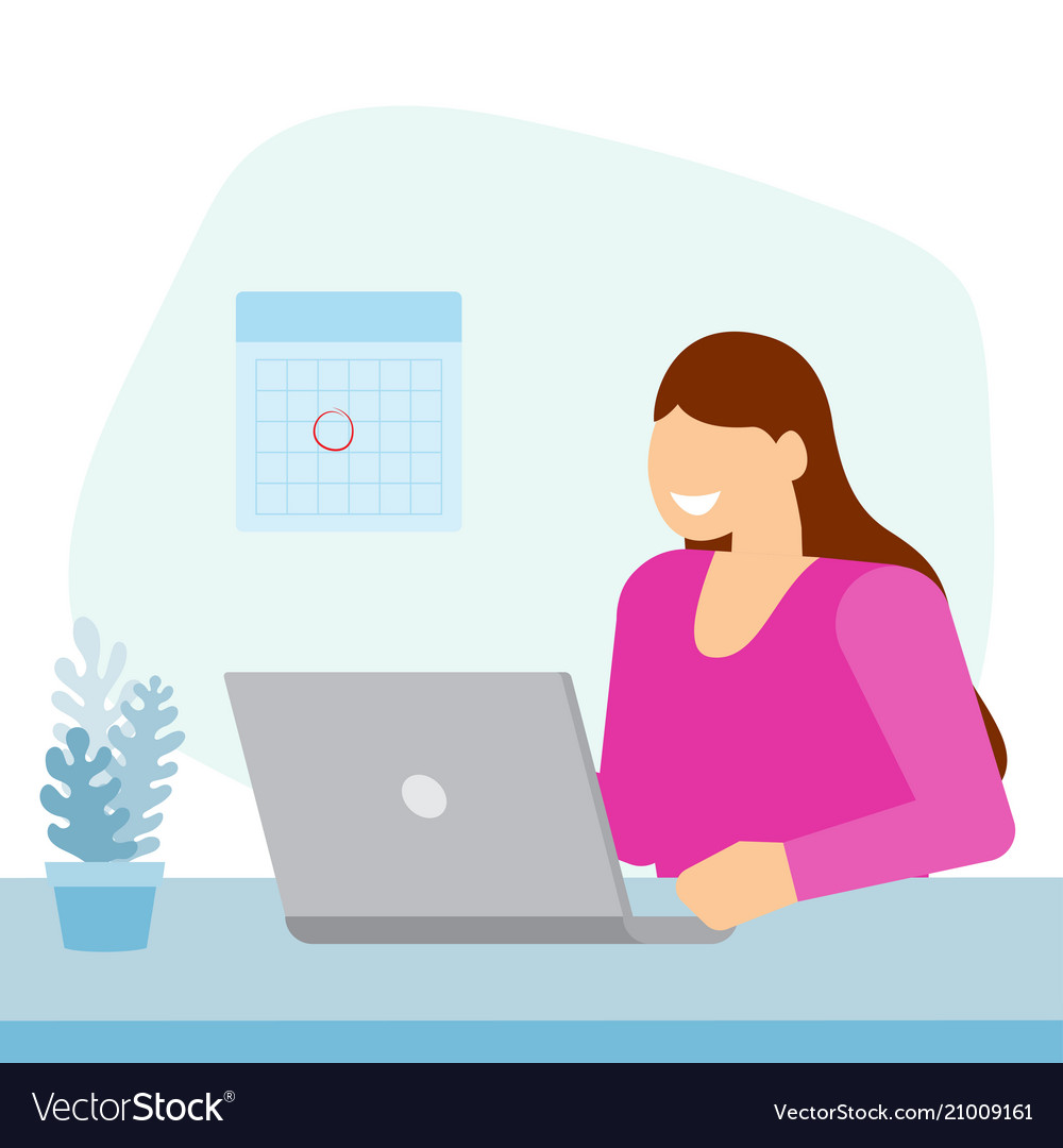 Girl sitting in office and working on laptop vector